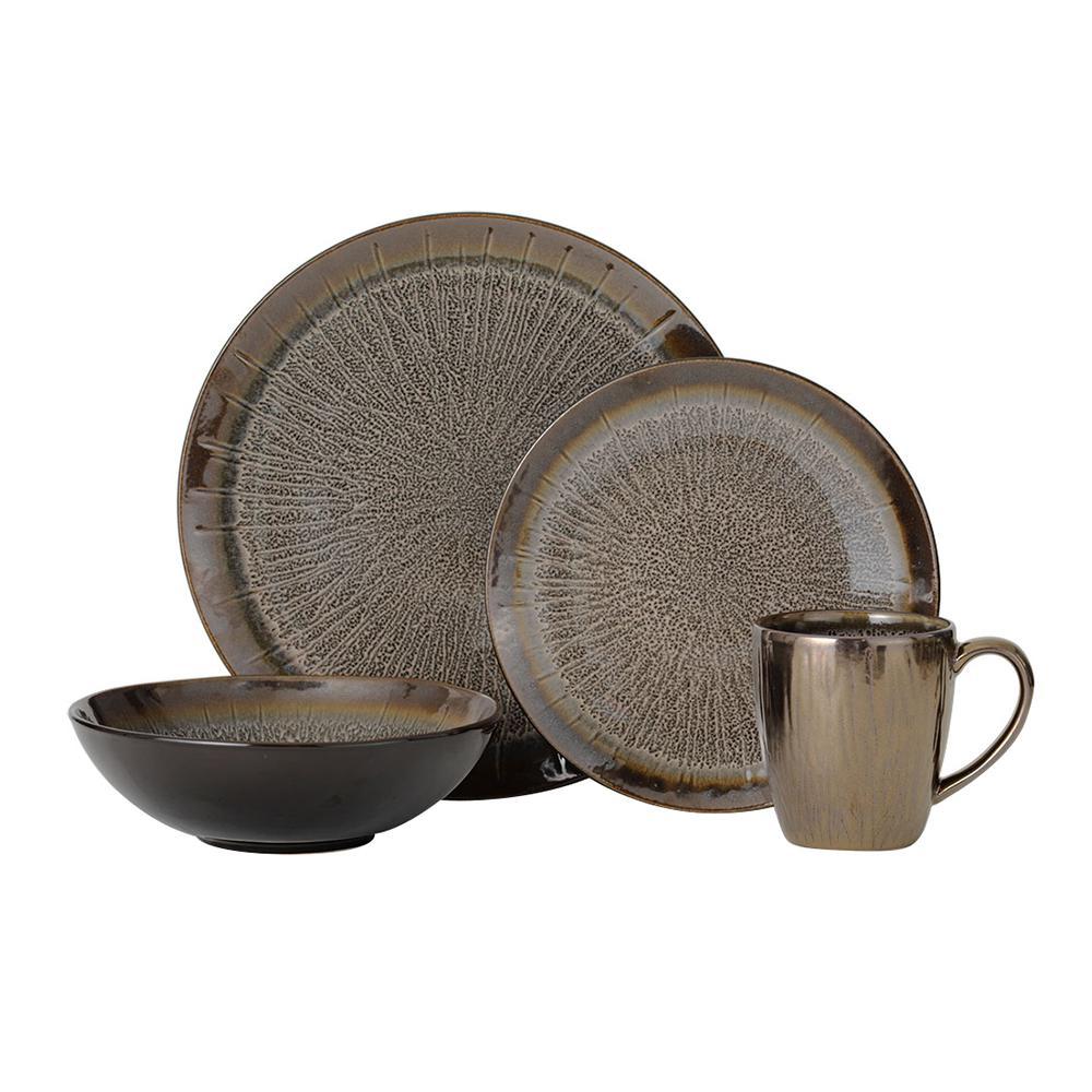 16-Piece Reed Gray Dinnerware Set