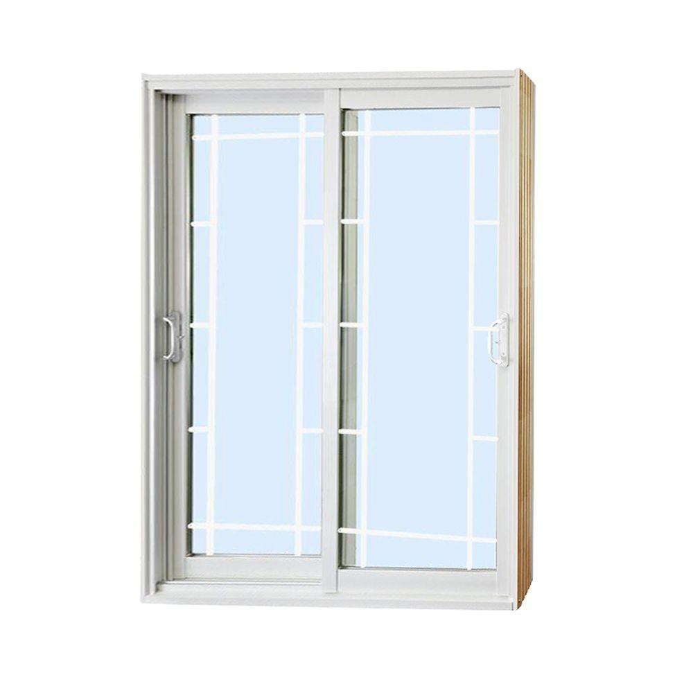 stanley doors 60 in x 80 in double sliding patio door with prairie style - Double Sliding Patio Doors