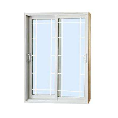 60 in. x 80 in. Double Sliding Patio Door with Prairie Style Internal Grill