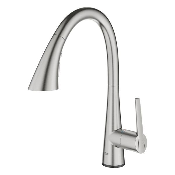 Grohe Ladylux L2 Touch Single Handle Pull Out Sprayer Kitchen Faucet With Touch Activation In Supersteel Infinity Finish 30205dc2 The Home Depot