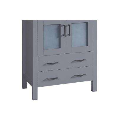 Bosconi 28.8 in. Single Vanity Cabinet Only in Gray Brushed Nickel Hardware