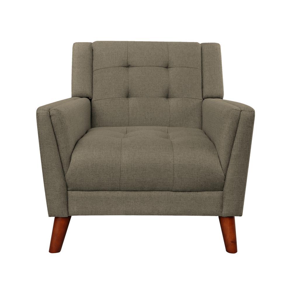Candace Mid-Century Modern Tufted Mocha Fabric Armchair