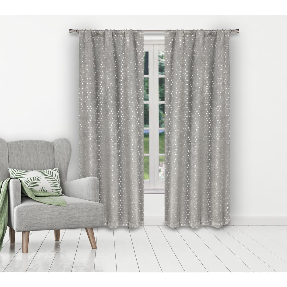 Margie 38 in. W x 84 in. L Polyester Window Panel in Silver