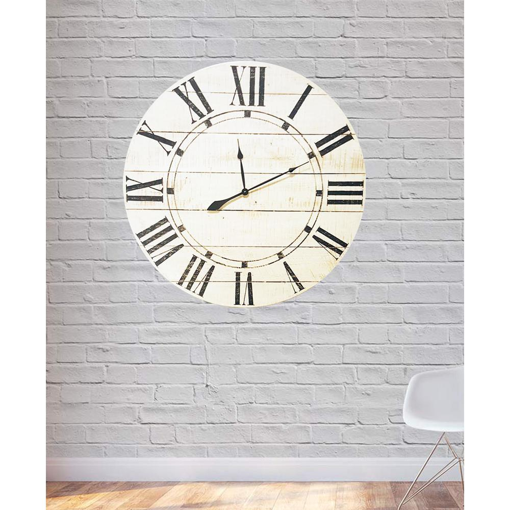 24 in. x 24 in. Vintage White Farmhouse Oversized Wall Clock
