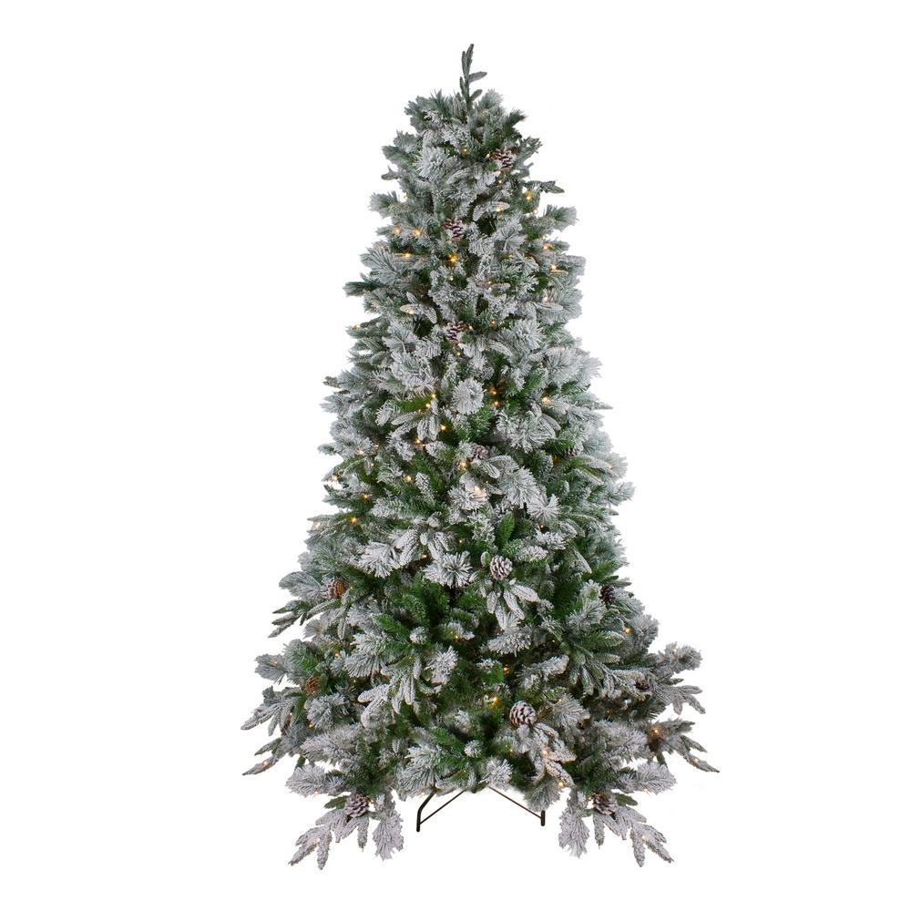 Pre Lit Led Flocked Mixed Colorado Pine