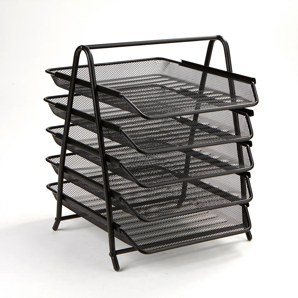 Mind Reader 5 Tier Steel Mesh Paper Tray Desk Organizer Black