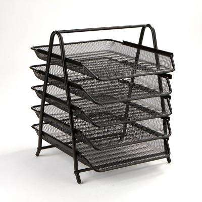 5-Tier Steel Mesh Paper Tray Desk Organizer, Black