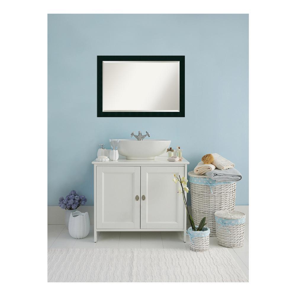 Tribeca Matte Black Wood 40 in. W x 28 in. H Single Contemporary Bathroom Vanity Mirror