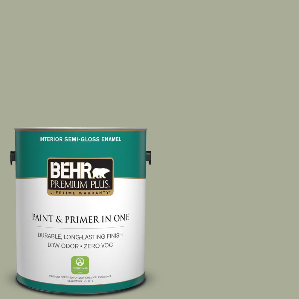 1-gal. #S380-4 Bay Water Semi-Gloss Enamel Interior Paint