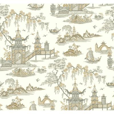 Waverly Classics II Peaceful Temple Removable Wallpaper