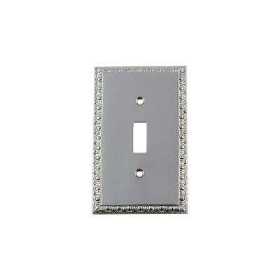 Egg and Dart Switch Plate with Single Toggle in Bright Chrome