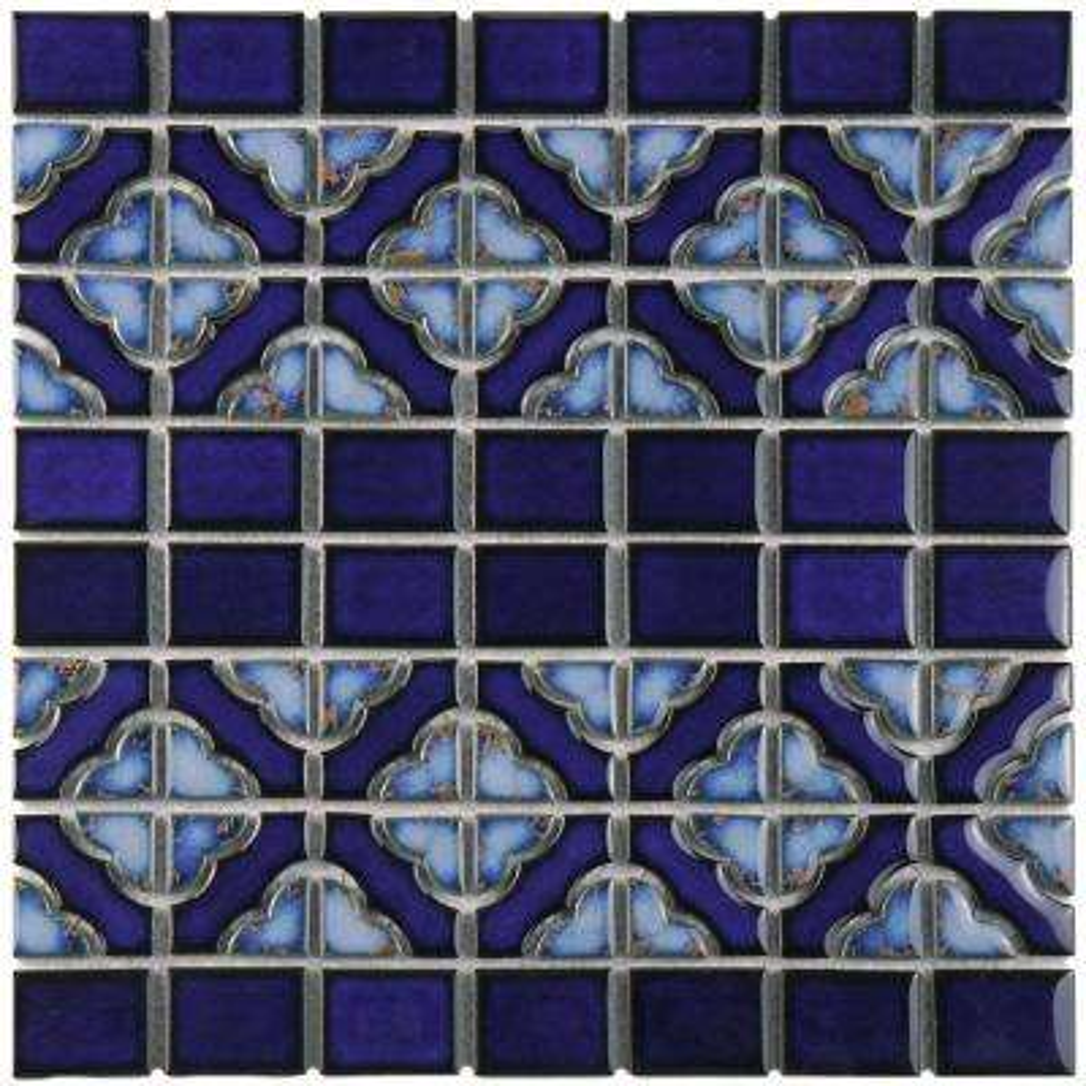 Tower Cobalt Delta 12 in. x 12-1/2 in. x 5 mm Porcelain Mosaic Tile