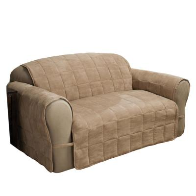 Ultimate Faux Suede Natural Loveseat Protector