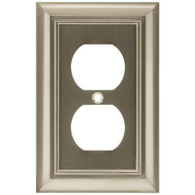 Architectural Decorative Single Duplex Outlet Cover, Satin Nickel