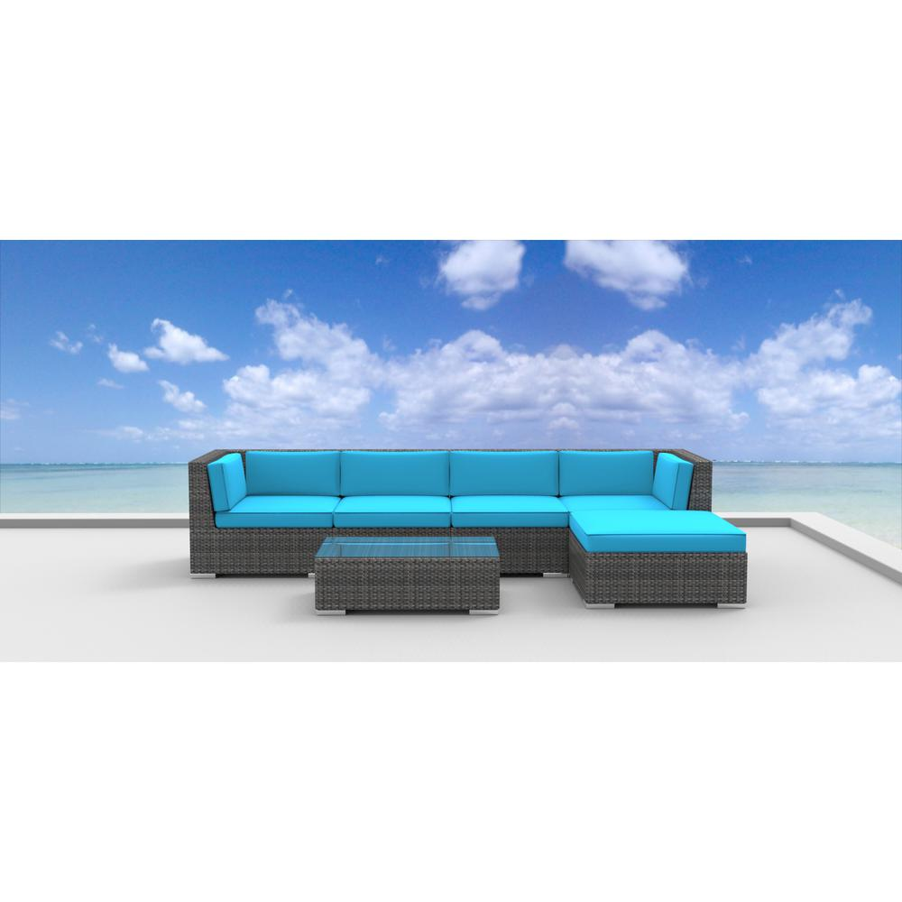Urban Furnishing Malo 6-Piece Wicker Outdoor Sectional Seating Set with Sea Blue Cushions