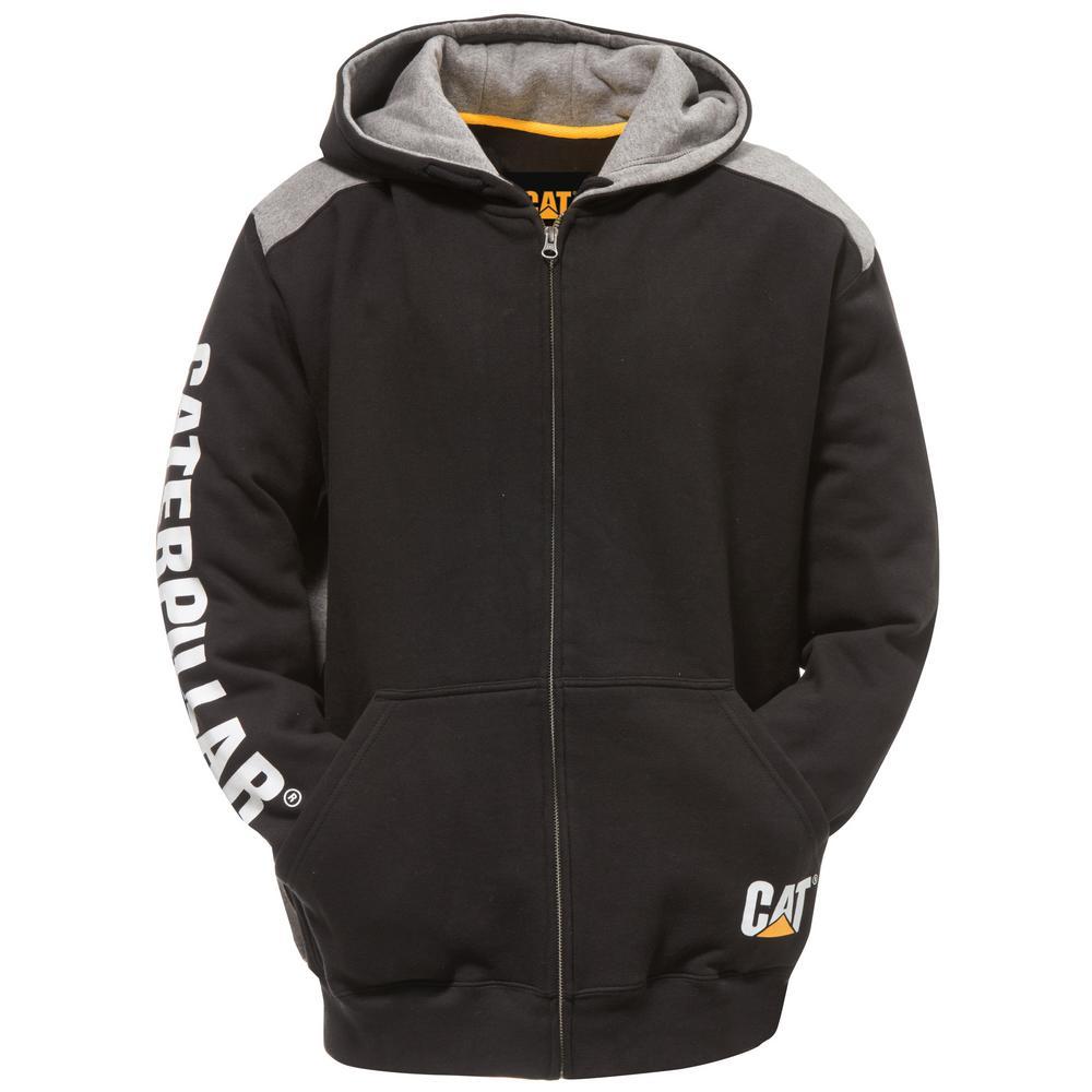 Logo Panel Men's Size X-Large Black Cotton/Polyester Full Zip Hooded Sweatshirt