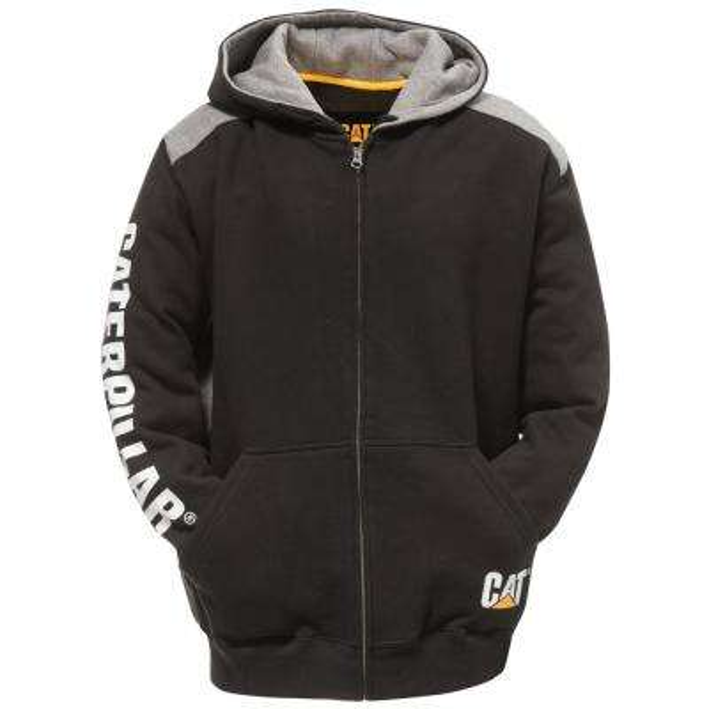 Logo Panel Men's Size 3X-Large Black Cotton/Polyester Full Zip Hooded Sweatshirt