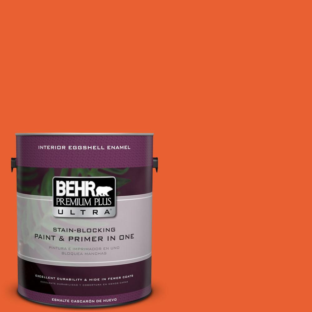 BEHR Premium Plus Ultra 1-gal. #S-G-230 Startling Orange Eggshell Enamel Interior Paint