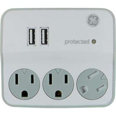 3-Outlet 2 USB Port Surge Protector Tap