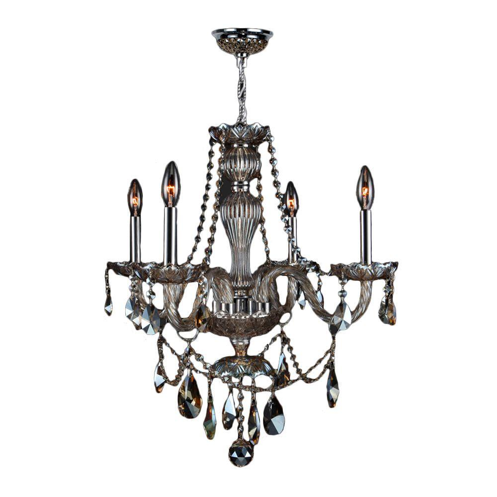 Provence Collection 4-Light Chrome and Golden Teak Crystal Chandelier