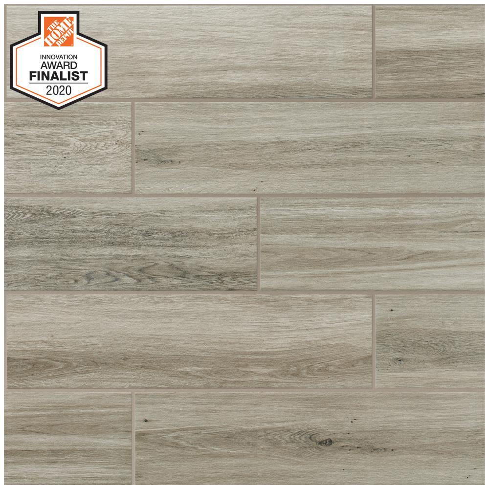 QuicTile 6 in. x 24 in. River Wood Matte Porcelain Locking Floor Tile (10.2 sq. ft. / case)