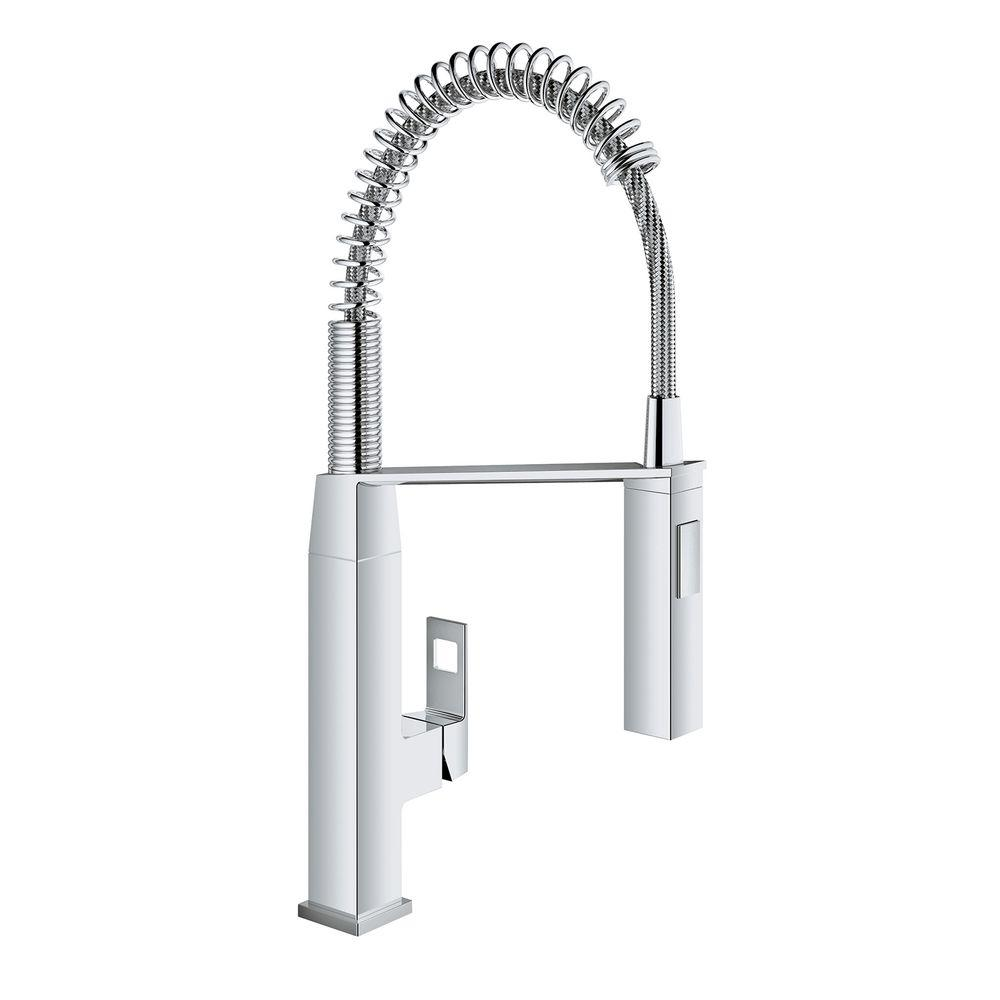 Grohe eurocube single handle pull down sprayer kitchen faucet in starlight chrome