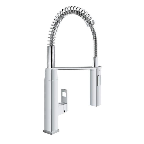 Eurocube Single-Handle Pull-Down Sprayer Kitchen Faucet in StarLight Chrome