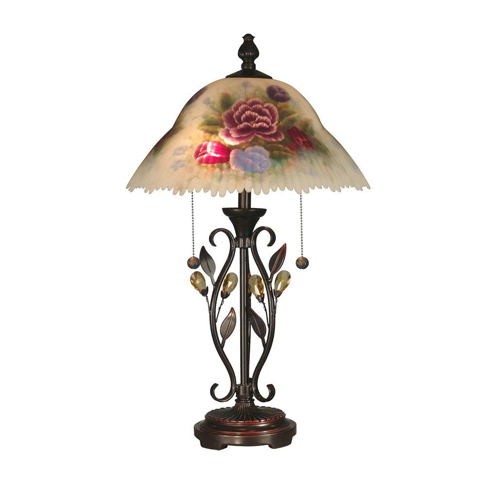 Dale Tiffany Roselaine 23.5 in. Antique Golden Sand Table Lamp with Crystal Leaves