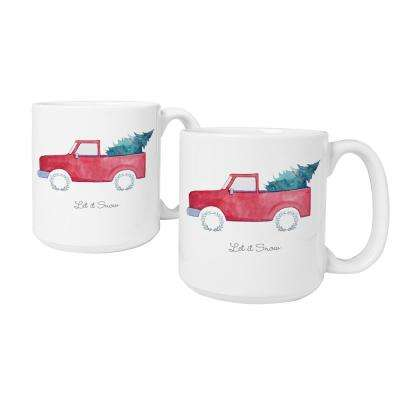 3.9 in. x 4.1 in. Christmas Tree Truck Ceramic Christmas Coffee Mugs in White
