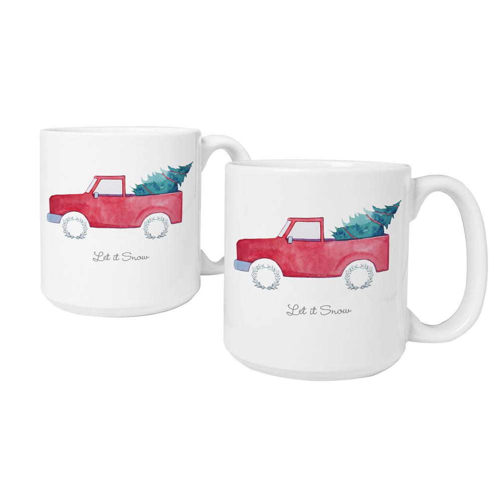 Christmas Coffee Mugs.3 9 In X 4 1 In Christmas Tree Truck Ceramic Christmas Coffee Mugs In White