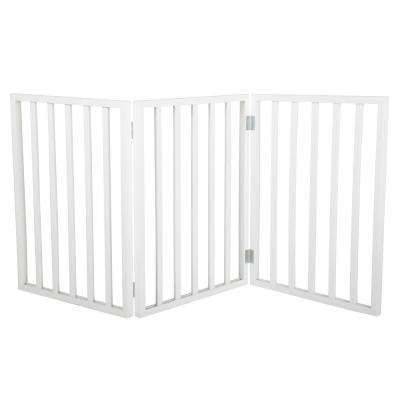 24 in. x 54 in. Freestanding White Wooden Pet Gate