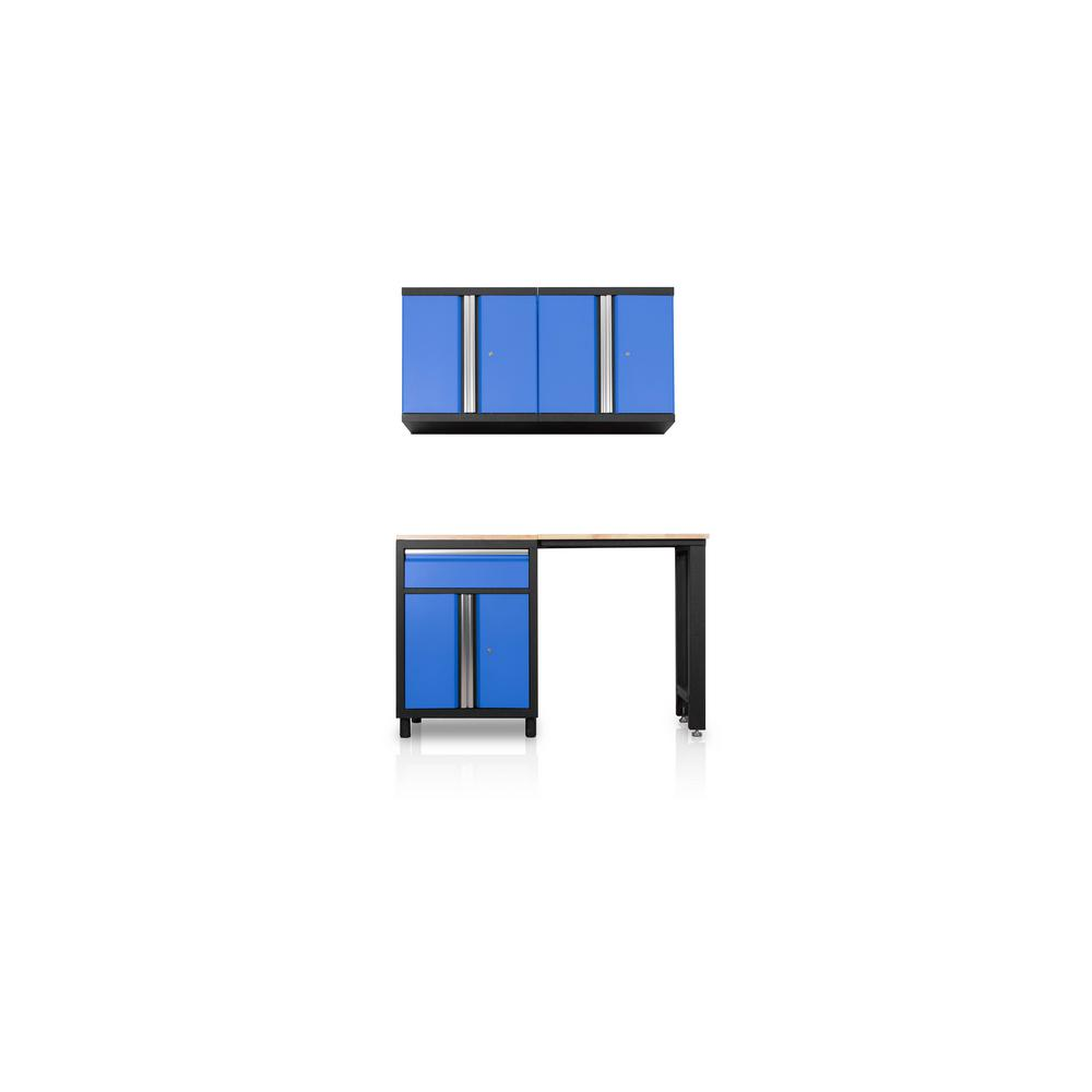 DuraCabinet Pro Series III 81.1 in. H x 59.5 in. W x 18 in. D 23/24-Gauge Steel Wood Worktop Cabinet Set in Blue (4-Piece)