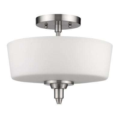 Paige 2-Light Satin Nickel Semi-Flush Mount Light with Frosted Glass Shade