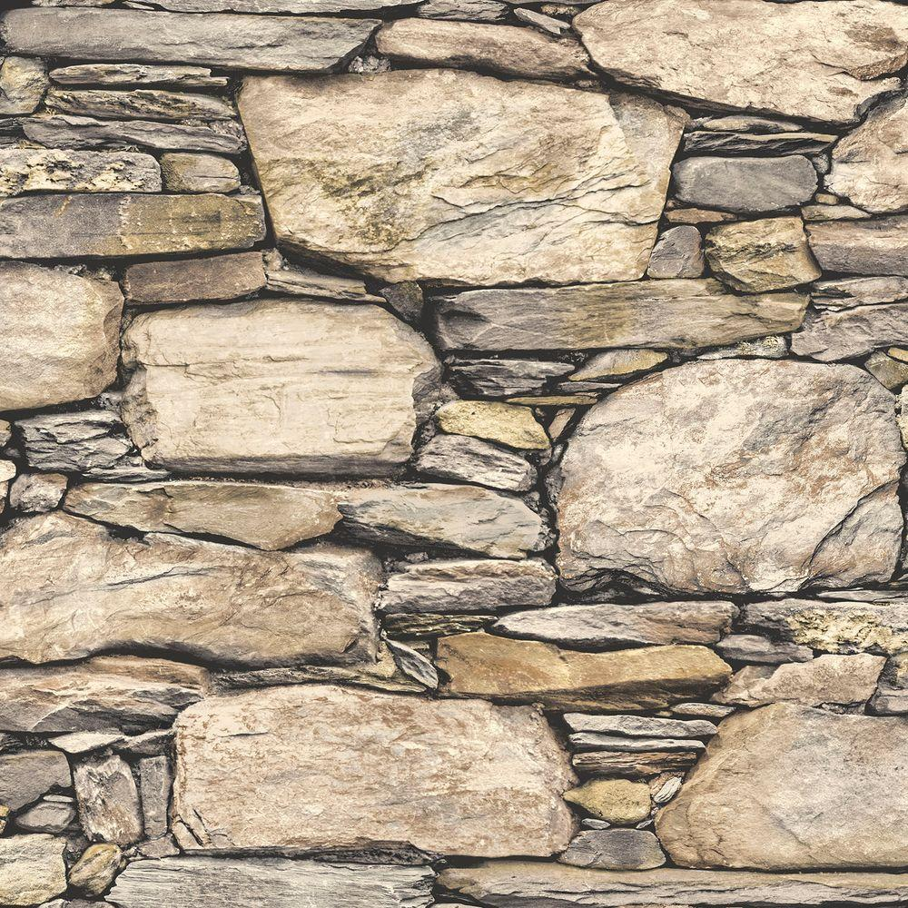 Nuwallpaper Brown Hadrian Stone Wall Peel And Stick Wallpaper Nu2065
