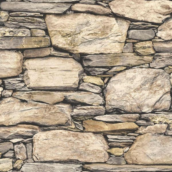 Brown Hadrian Stone Wall Peel and Stick Wallpaper