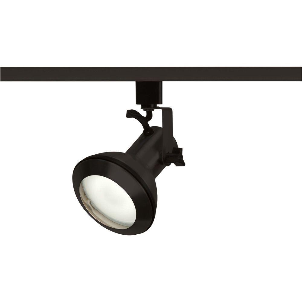Glomar 1-Light PAR30 Black Euro Style Track Lighting Head
