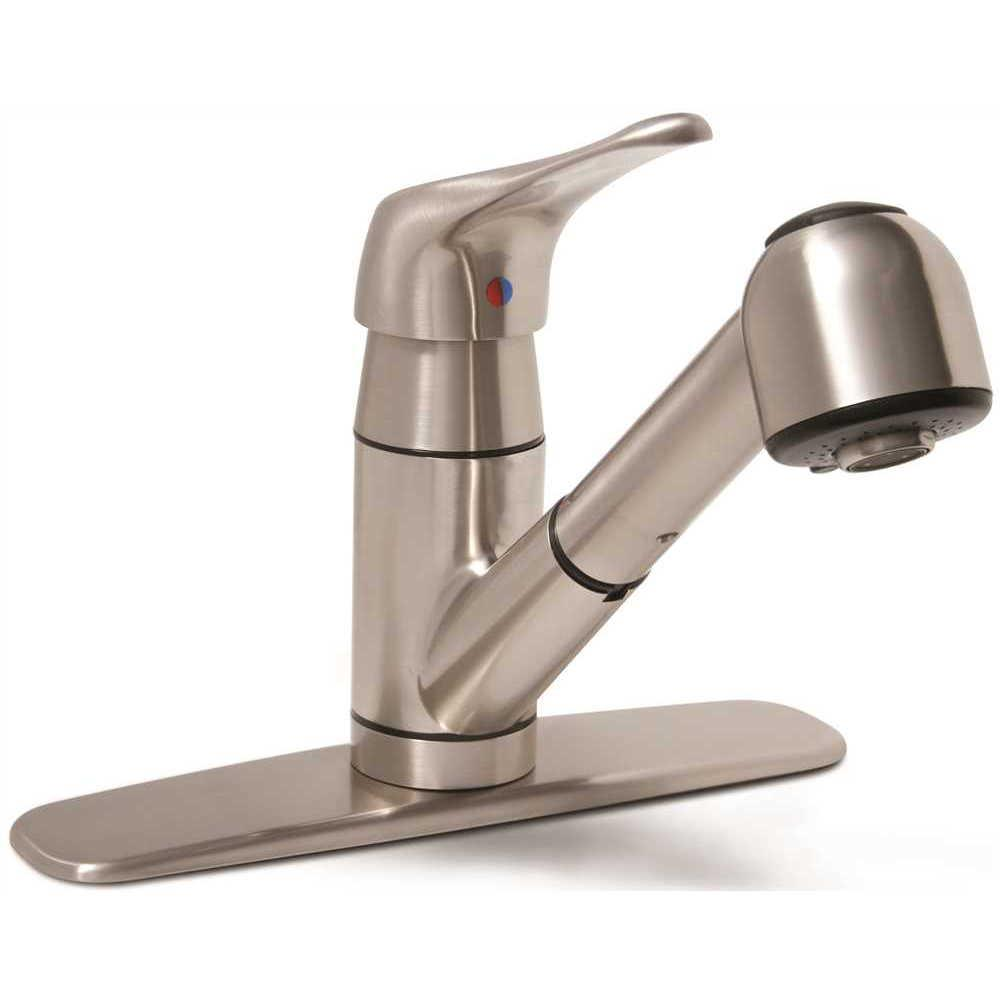 Premier Somoma Single-Handle Pull-Out Sprayer Kitchen Faucet in Brushed  Nickel