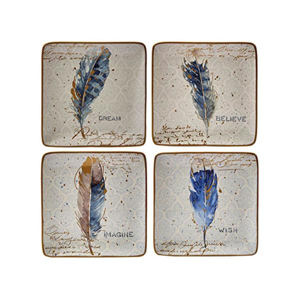 Certified International Indigold Blue 8.5 in. Feathers Dessert Plate (Set of