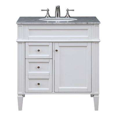 Timeless Home 32 in. W x 21.5 in. D x 34.625 in. H Single Bathroom Vanity in White with White Marble Top and White Basin