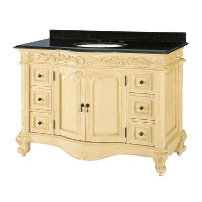 Estates 49 in. W x 22 in. D Bath Vanity in Antique White with Engineered Stone Vanity Top in White with White Basin