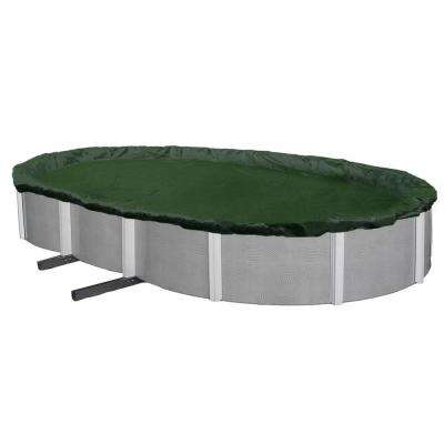 12-Year 16 ft. x 32 ft. Oval Forest Green Above Ground Winter Pool Cover
