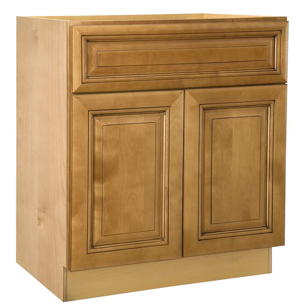 Lewiston Assembled 27x34.5x24 in. Double Door Base Kitchen Cabinet & Drawer