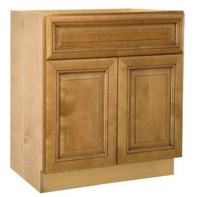 lewiston assembled 30x345x24 in base cabinet with double doors in toffee glaze - Birch Kitchen Cabinets