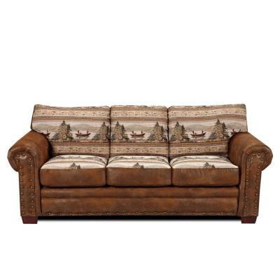 Alpine Lodge Sofa with Nail Head Accents and Alpine Scene Tapestry
