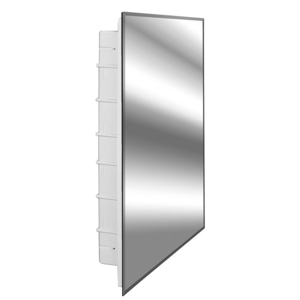 Nunki 16 in. x 36 in. x 3-1/2 in. Frameless Recessed 1-Door Medicine Cabinet with 12-Shelves and Beveled Edge Mirror