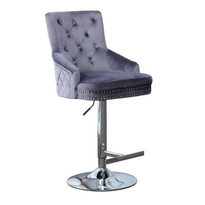 41 in. Grey Swivel Velvet Adjustable Bar Stool