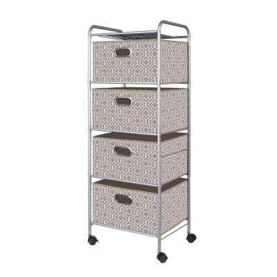 4 Drawer Cart in Moroccan Taupe