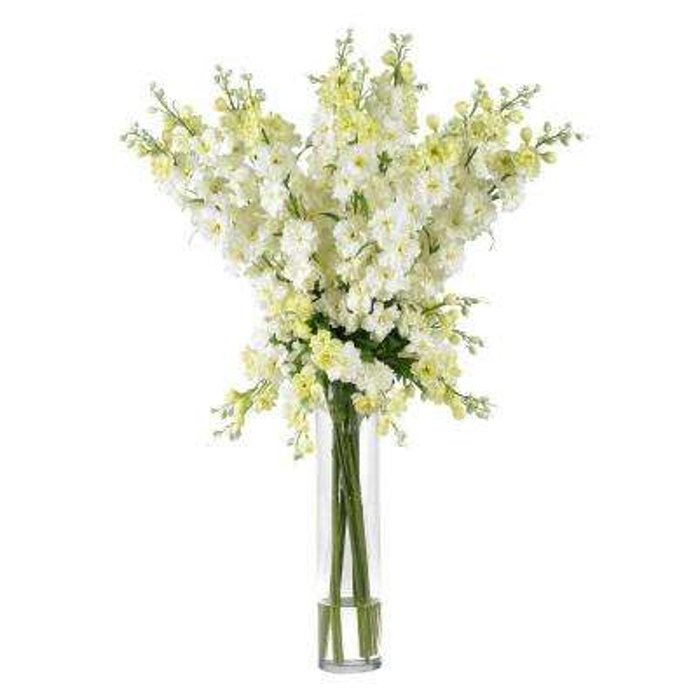 38 in. H White Delphinium Silk Flower Arrangement