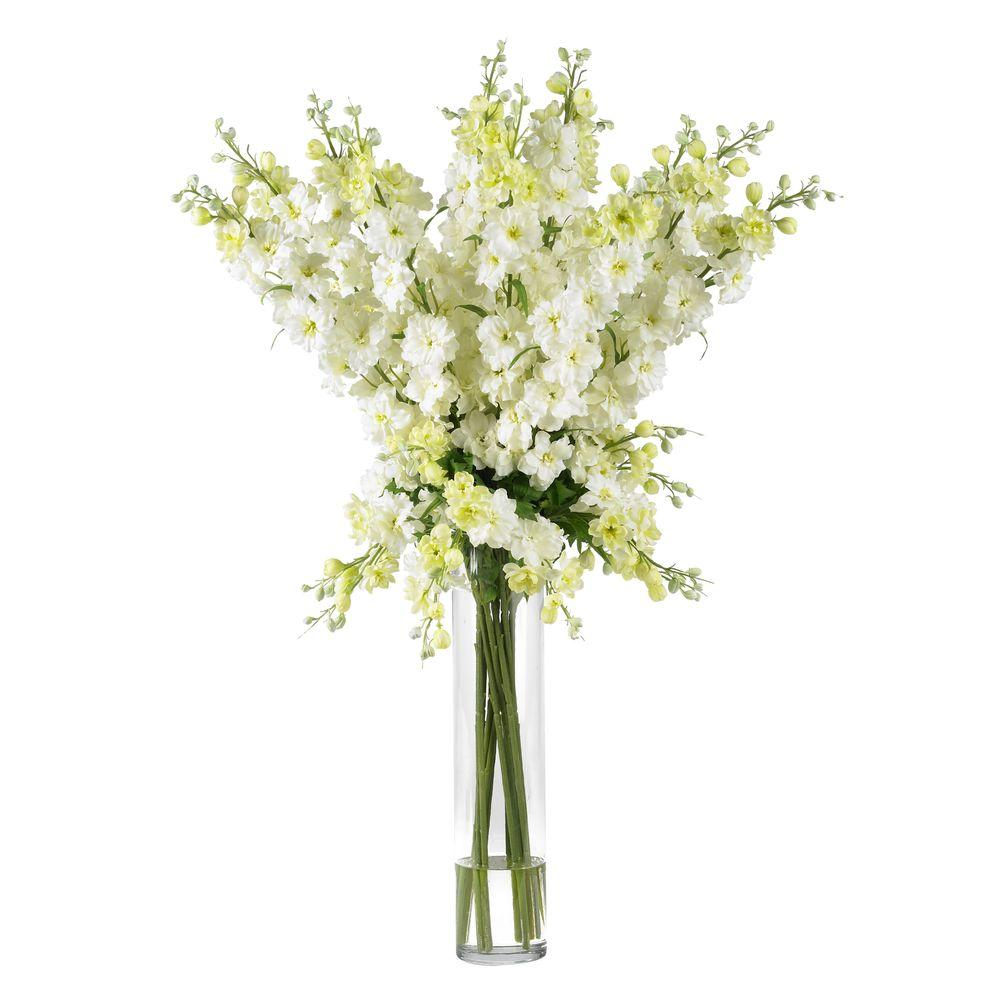 NEARLY NATURAL 38 in. H White Delphinium Silk Flower Arrangement NEARLY NATURAL 38 in. H White Delphinium Silk Flower Arrangement