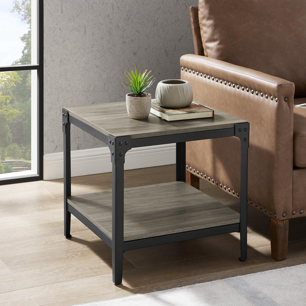 Rustic Wood Slate Grey End Side Table (Set of 2)
